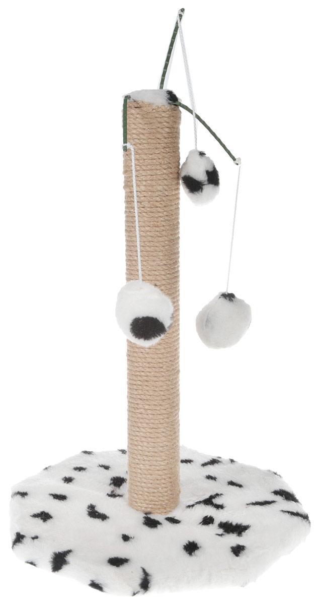 """Фото Когтеточка """"Меридиан"""", на подставке, с тремя игрушками, цвет: белый, черный, высота 52 см"""