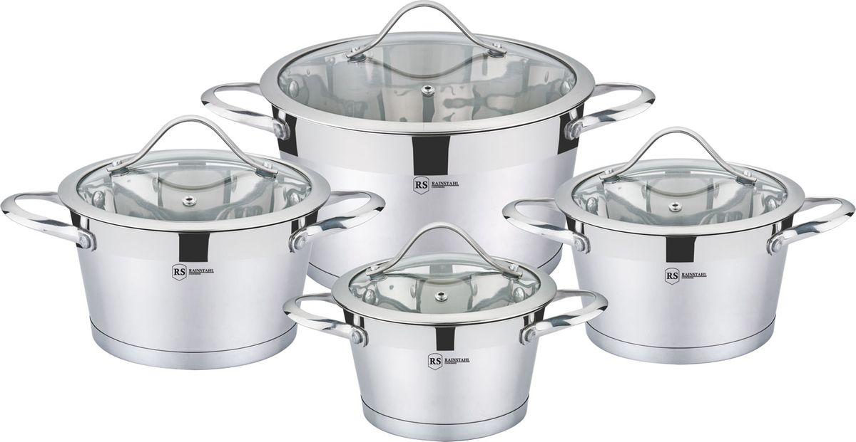 Набор посуды Rainstahl, с антипригарным покрытием, 8 предметов, цвет: белый, . 1081-08RS/CW набор посуды rainstahl 8 предметов 0716bh