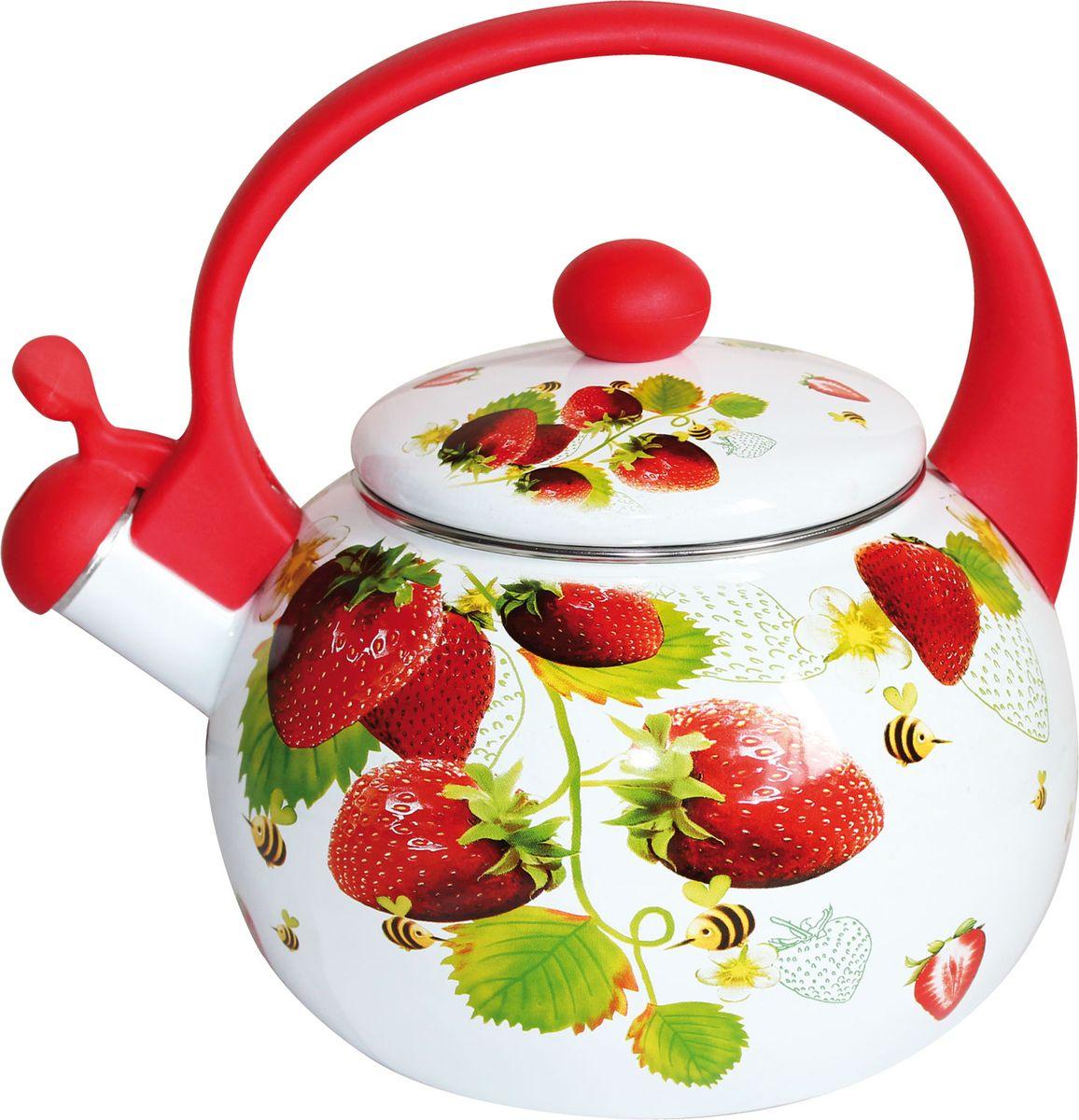 Чайник Rainstahl, со свистком, цвет: белый, 2,2 л. 7541-22RS\WK отделитель вишневых косточек rainstahl цвет белый красный