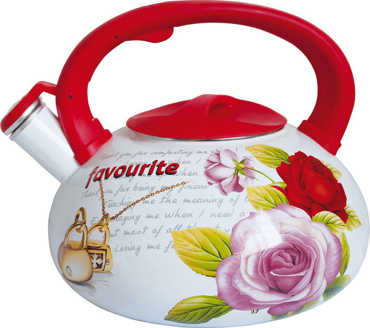 Чайник Rainstahl, со свистком, цвет: белый, 3,5 л. 7542-35RS\WK отделитель вишневых косточек rainstahl цвет белый красный