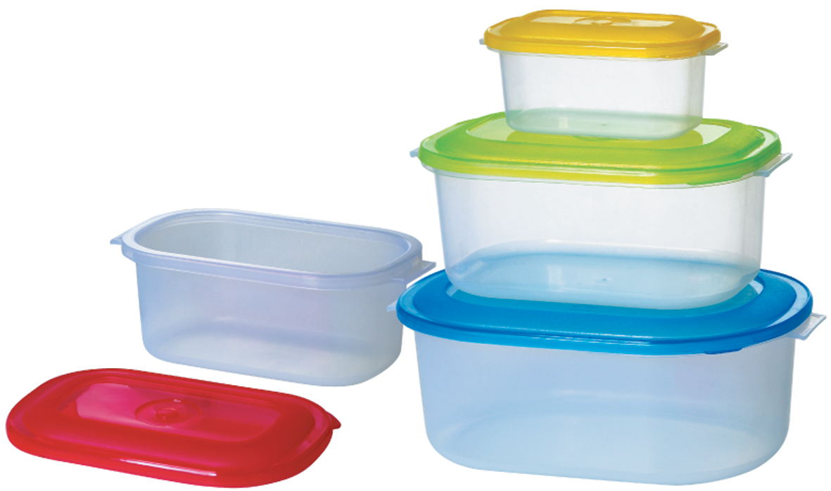 """Набор контейнеров """"Bohmann"""" состоит из 4 контейнеров разного размера. Контейнеры выполнены из прочного пищевого пластика без содержания BPA. Изделия имеют плотно закрывающиеся крышки, которые позволяют продуктам дольше оставаться свежими и защищают от попадания грязи и влаги. Набор отлично подойдет для использования дома и на даче, контейнеры небольших размеров удобно брать с собой на работу или учебу. Контейнеры подходят для микроволновой печи (без крышки), заморозки. Изделия можно мыть в посудомоечной машине на верхнем уровне.Объем контейнеров: 200 мл; 700 мл; 1,6 л; 2,5 л. Размеры контейнеров: 14,5 х 8,5 х 6,5 см; 18 х 10,5 х 7 см; 21,5 х 14 х 8,5 см; 25,5 х 17,5 х 10 см."""
