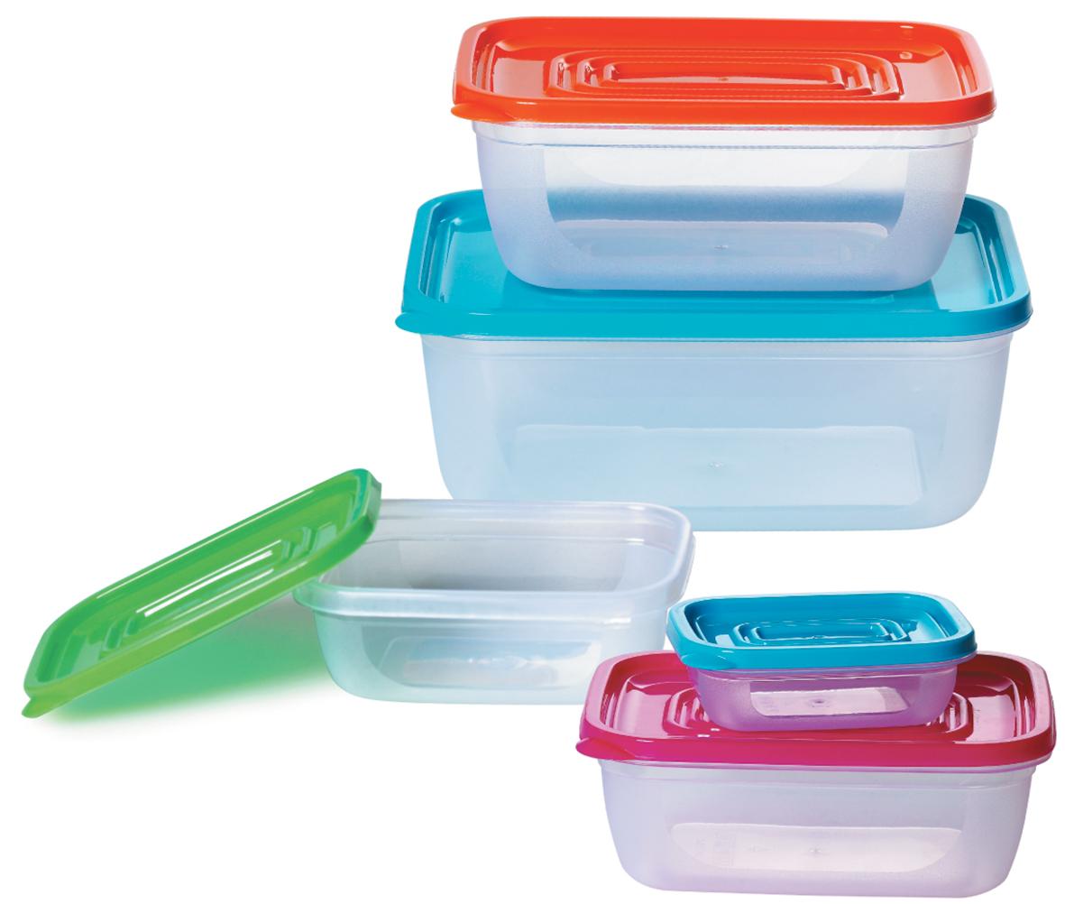 """Набор контейнеров """"Bohmann"""" состоит из 5 контейнеров разного размера. Контейнеры выполнены из прочного пищевого пластика без содержания BPA. Изделия имеют плотно закрывающиеся крышки, которые позволяют продуктам дольше оставаться свежими и защищают от попадания грязи и влаги. Набор отлично подойдет для использования дома и на даче, контейнеры небольших размеров удобно брать с собой на работу или учебу. Контейнеры подходят для микроволновой печи (без крышки), заморозки. Изделия можно мыть в посудомоечной машине на верхнем уровне.Объем контейнеров: 200 мл; 700 мл; 1,6 л; 2,5 л. Размеры контейнеров: 14,5 х 8,5 х 6,5 см; 18 х 10,5 х 7 см; 21,5 х 14 х 8,5 см; 25,5 х 17,5 х 10 см."""