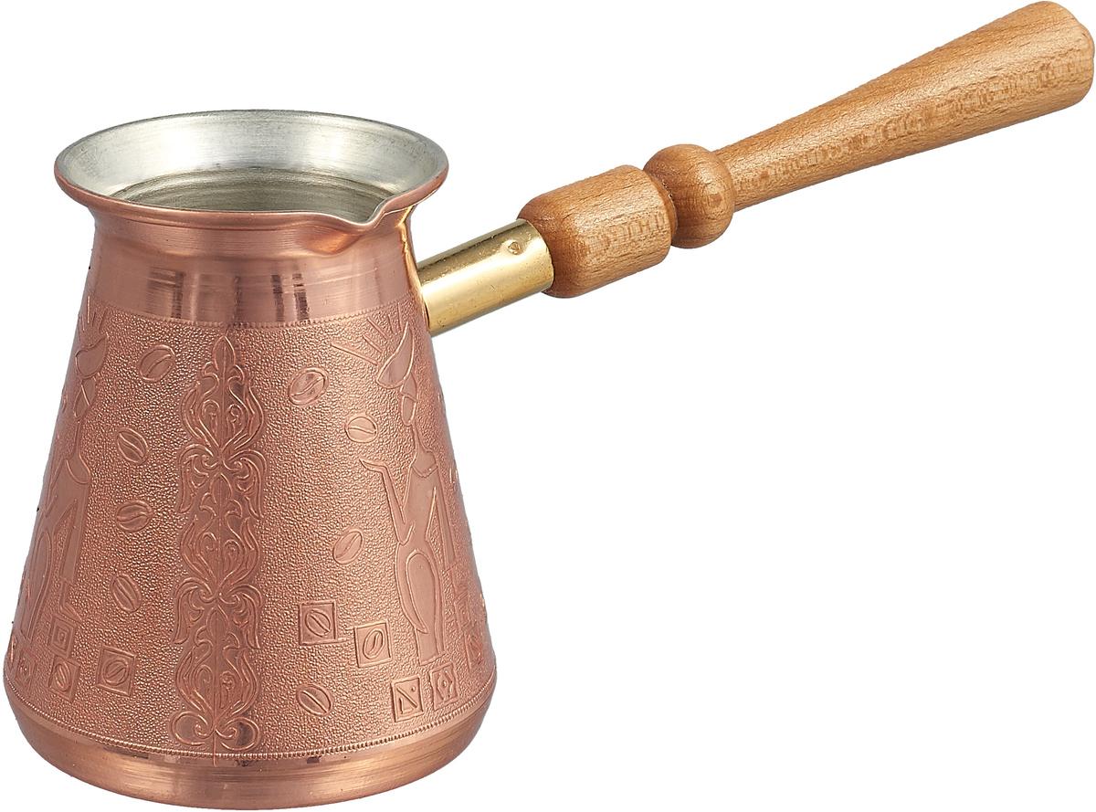 """Кофеварка ТimА """"Арабика"""" изготовлена по уникальной технологии из листовой меди марки М1М. Корпус кофеварки """"Арабика"""" является цельным и выполнен из меди толщиной 1,0 мм.  Медь, по утверждению ученых, самый подходящий для приготовления пищи металл на планете Земля, но окись меди вредна для здоровья человека. Поэтому внутренняя поверхность кофеварки покрыта пищевым оловом толщиной 9-12 мкм. Внешняя поверхность кофеварки имеет натуральный цвет и блеск меди и защищена слоем жаропрочного лака. Кофеварка оснащена удобным носиком и деревянной ручкой. Подходит для газовых, электрических, стеклокерамических плит. Не рекомендуется мыть в посудомоечной машине."""