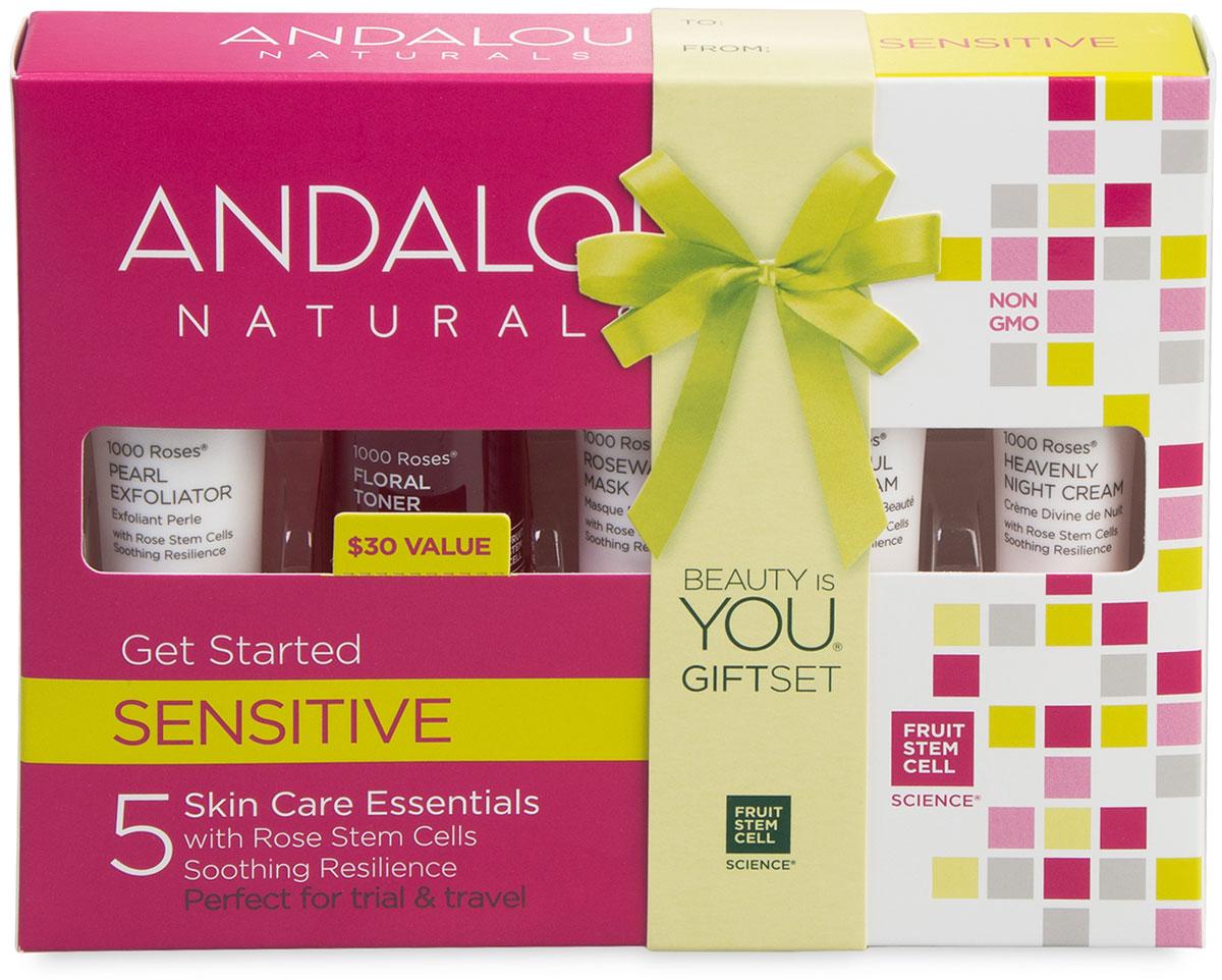 Andalou Naturals Коллекция 1000 роз: Набор из минипродуктов комплексный уход за чувстительной кожей, 5 шт
