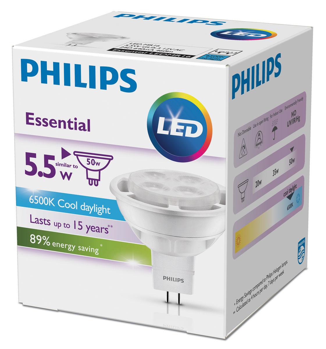 Лампа светодиодная Philips Essential, цоколь GU5.3, 5,5W, 6500К лампа светодиодная philips essential цоколь gu5 3 3w 3000к