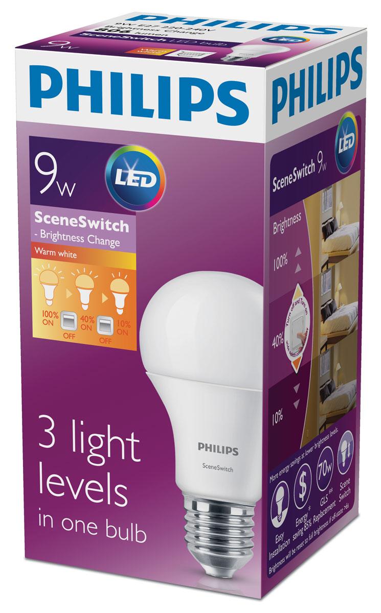 Лампа светодиодная Philips Scene Switch, диммируемая, цоколь E27, 9W, 3000К лампа светодиодная philips essential цоколь gu5 3 3w 3000к