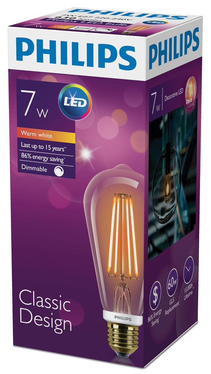 Лампа светодиодная Philips, диммируемая, филаментная, цоколь E27, 7W, 2200К лампа галогенная philips h7 3200k vision 30% 1 шт 12972prc1
