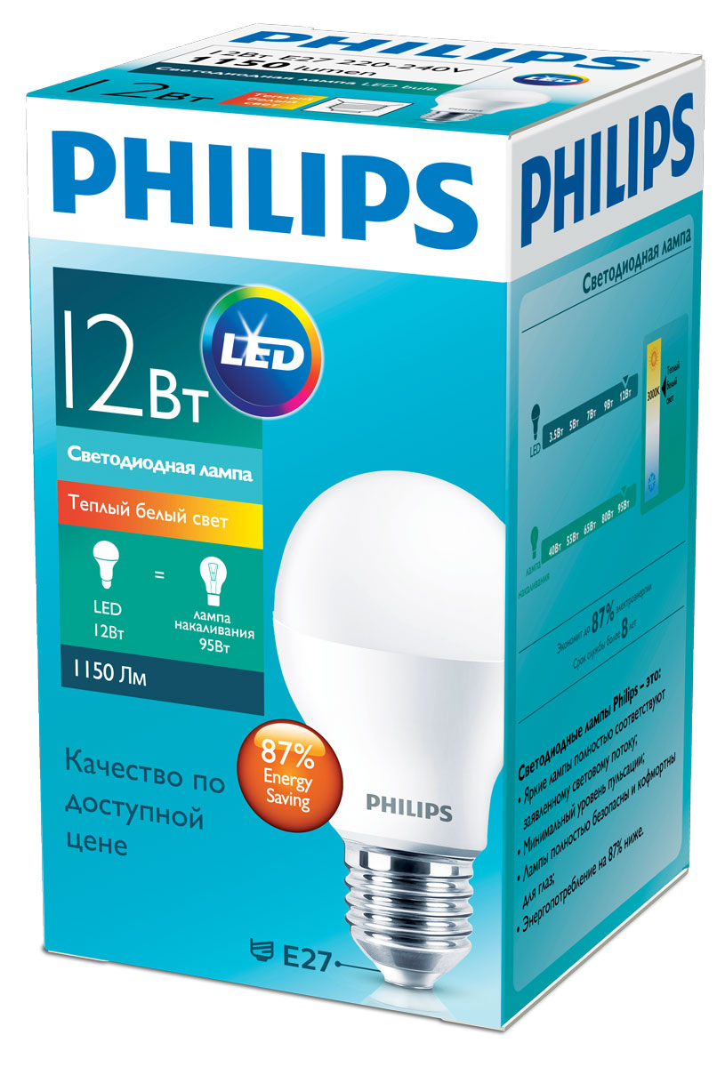 Лампа светодиодная Philips Essential, цоколь E27, 12W, 3000К лампа светодиодная philips essential цоколь gu5 3 3w 3000к