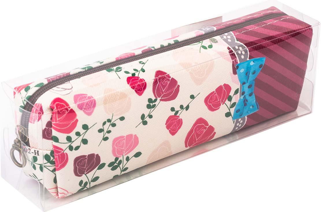 Calligrata Пенал школьный Цветы цвет бордовый корейский канцелярские канцелярские акварель ручка гелевые ручки комплект 10шт цвет kandelia