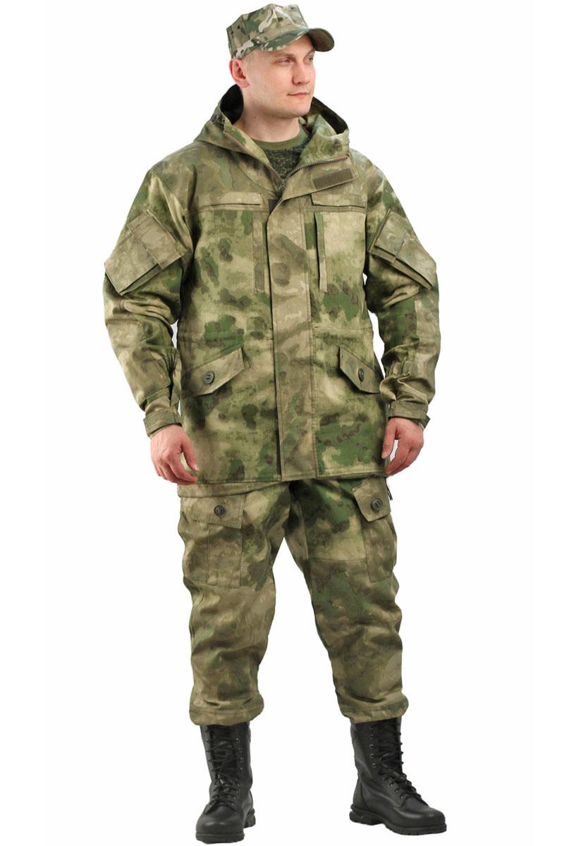 Костюм мужской URSUS Gerkon Gorka-5: куртка, брюки, цвет: хаки. КОС443-К80. Размер 60/62-182/188КОС443-К80Костюм камуфляжный состоит из куртки и брюк. Курка прямого силуэта с капюшоном. Нашивки на липучке для шевронов. Капюшон двойной, с козырьком, имеет утягивающую кулису для регулировки по объему. Застежка центральная на молнии, ветрозащитная планка на липучках. Два верхних прорезных кармана на молнии, два нижних кармана антивор с клапаном, на пуговицу-канадка. Вентиляционное отверстие под проймой. На рукаве объемный карман с клапаном. Усилительные локтевые накладки на рукавах (с карманами для амортизационного вкладыша). Низ рукавов регулируется по объему с помощью паты. Подгонка по талии и низу куртки с помощью кулисы. На спинке куртки карман на молнии для амортизированного вкладыша. Внутренние карманы на молнии и большие карманы на липучке.Брюки свободного покроя, гульфик с застежкой на молнию петлю и пуговицу-канадка. Широкий пояс на резинке. Отстегивающиеся лямки на резинке. Два верхних кармана в боковых швах. В области коленей накладки. Внутри карманы для амортизационного вкладыша.