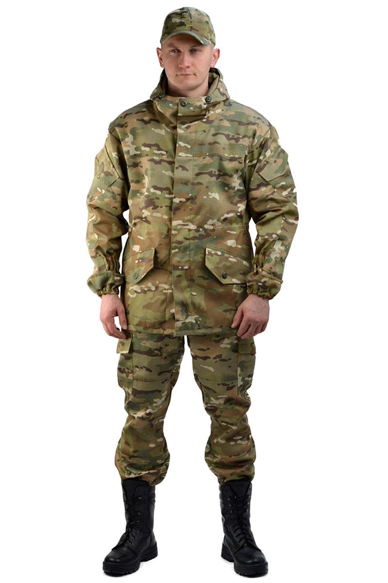 Костюм мужской URSUS Горка 3: куртка, брюки, цвет: разноцветный. КОС288-48. Размер 44/46-182/188КОС288-48Костюм камуфляжный Горка 3 состоит из куртки и брюк. Куртка свободного кроя, застежка центральная супатная, на петлю и пуговицу. Кокетка, накладки и карманы из отделочной ткани. Два нижних прорезных кармана с клапаном, на петлю и пуговицу. внутренний отлетной карман на пуговицу, на рукавах по одному накладному наклонному карману с клапаном на петлю и пуговицу. В области локтя усиливающие фигурные накладки. Низ рукавов на резинке. Капюшон двойной, с козырьком, имеет утягивающую кулису для регулировки по объему. Подгонка по талии с помощью кулиски.Брюки свободного покроя, гульфик с застежкой на петлю и пуговицу. Два верхних кармана в боковых швах. В области коленей, на задних половинках брюк в области сидения - усиливающие накладки. Два боковых накладных кармана с клапаном, два задних накладных фигурных кармана на пуговицах. Крой деталей в области коленей препятствует их вытягиванию. Пылезащитная юбка из бязи по низу брюк. Задние половинки под коленом собраны резинкой. Пояс на резинке, низ на резинке.