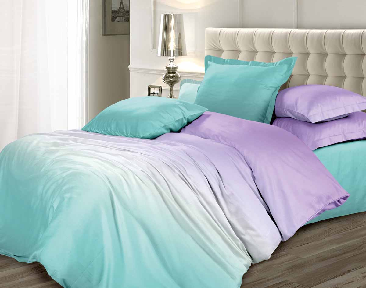 Комплект постельного белья Омбре Luxury Воздушная лаванда, евро, наволочки 70 x 70