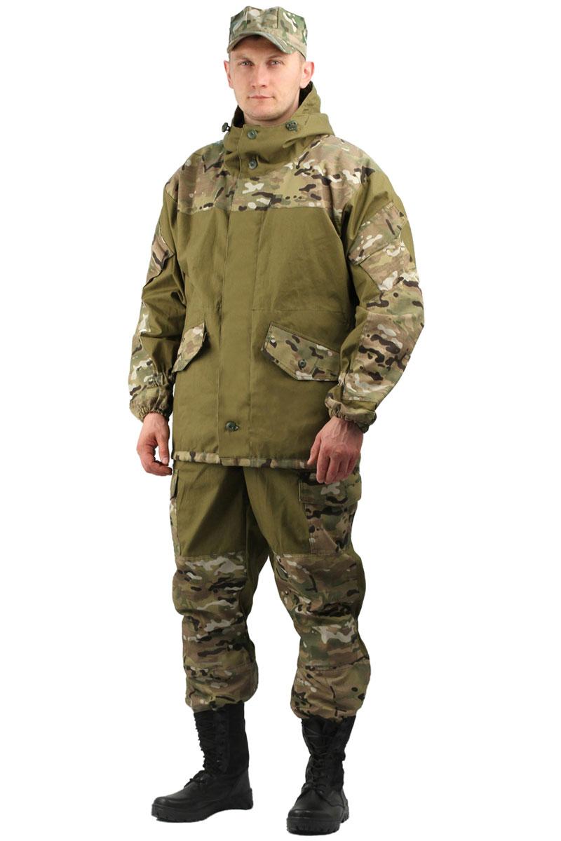 Костюм мужской URSUS Горка 3: куртка, брюки, цвет: хаки. КОС288-К48. Размер 60/62-182/188КОС288-К48Костюм камуфляжный Горка 3 состоит из куртки и брюк. Куртка свободного кроя, застежка центральная супатная, на петлю и пуговицу. Кокетка, накладки и карманы из отделочной ткани. Два нижних прорезных кармана с клапаном, на петлю и пуговицу, внутренний отлетной карман на пуговицу, на рукавах по одному накладному наклонному карману с клапаном на петлю и пуговицу. В области локтя усиливающие фигурные накладки. Низ рукавов на резинке. Капюшон двойной, с козырьком, имеет утягивающую кулису для регулировки по объему. Подгонка по талии с помощью кулиски.Брюки свободного покроя, гульфик с застежкой на петлю и пуговицу. Два верхних кармана в боковых швах. В области коленей, на задних половинках брюк в области сидения - усиливающие накладки. Два боковых накладных кармана с клапаном, два задних накладных фигурных кармана на пуговицах. Крой деталей в области коленей препятствует их вытягиванию. Пылезащитная юбка из бязи по низу брюк. Задние половинки под коленом собраны резинкой. Пояс на резинке, низ на резинке.