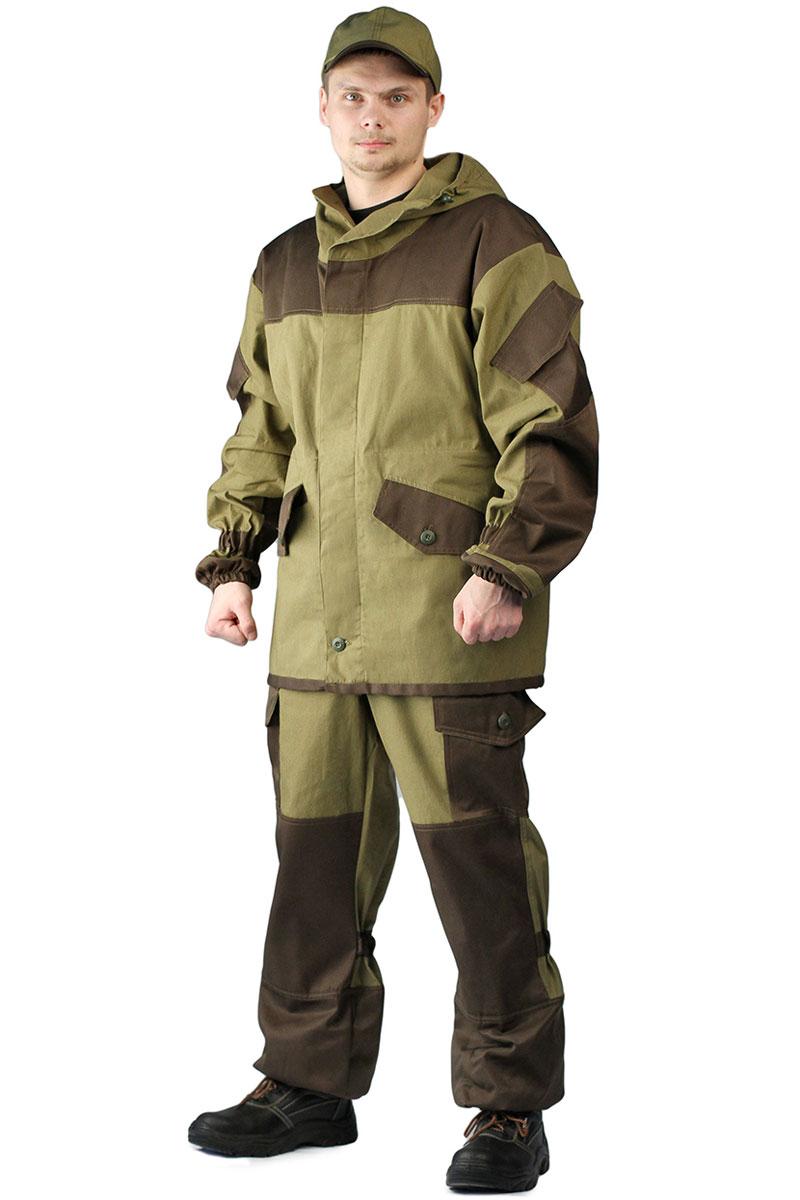 Костюм мужской URSUS Горка 3-Тир: куртка, брюки, цвет: хаки. КОС288-2701. Размер 52/54-170/176КОС288-2701Костюм камуфляжный Горка 3-тир состоит из куртки и брюк. Куртка свободного кроя, застежка центральная супатная, на петлю и пуговицу. Кокетка, накладки и карманы из отделочной ткани. Два нижних прорезных кармана с клапаном, на петлю и пуговицу, внутренний отлетной карман на пуговицу, на рукавах по одному накладному наклонному карману с клапаном на петлю и пуговицу. В области локтя усиливающие фигурные накладки. Низ рукавов на резинке. Капюшон двойной, с козырьком, имеет утягивающую кулису для регулировки по объему. Подгонка по талии с помощью кулиски.Брюки свободного покроя, гульфик с застежкой на петлю и пуговицу. Два верхних кармана в боковых швах. В области коленей, на задних половинках брюк в области сидения - усиливающие накладки. Два боковых накладных кармана с клапаном, два задних накладных фигурных кармана на пуговицах. Крой деталей в области коленей препятствует их вытягиванию. Пылезащитная юбка из бязи по низу брюк. Задние половинки под коленом собраны резинкой. Пояс на резинке, низ на резинке.