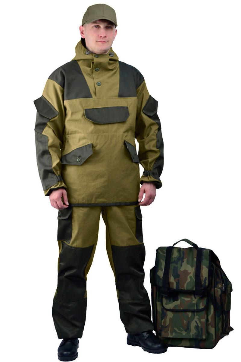 Костюм мужской URSUS Горка 4: куртка, брюки, цвет: хаки. КОС290-270. Размер 44/46-170/176КОС290-270Костюм камуфляжный Горка 4 состоит из куртки и брюк. Куртка-анорак (без застежки) свободного кроя. Кокетка, накладки и карманы из отделочной ткани. Два нижних прорезных кармана с клапаном, на петлю и пуговицу, верхний карман на пуговицу, на рукавах по одному накладному наклонному карману с клапаном на петлю и пуговицу. В области локтя усиливающие фигурные накладки. Низ рукавов на резинке. Капюшон двойной, с козырьком, имеет утягивающую кулису для регулировки по объему. Подгонка по талии с помощью кулиски.Брюки свободного покроя, гульфик с застежкой на петлю и пуговицу. Два верхних кармана в боковых швах. В области коленей, на задних половинках брюк в области сидения - усиливающие накладки. Два боковых накладных кармана с клапаном, два задних накладных фигурных кармана на пуговицах. Крой деталей в области коленей препятствует их вытягиванию. Пылезащитная юбка из бязи по низу брюк. Задние половинки под коленом собраны резинкой. Пояс на резинке, низ на резинке.