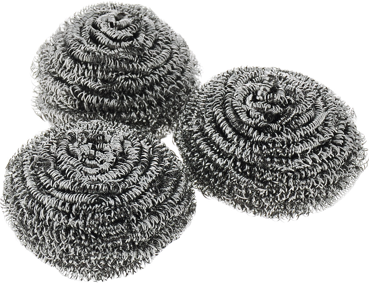 Губка металлическая Фэйт Фэнрик 3, цвет: серый, 3 шт1.4.01.142