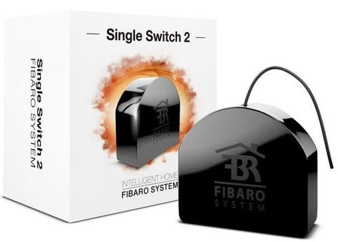 Fibaro SINGLE SWITCH 2 FGS-213 ZW5, Black устройство умного дома luxury interruptor cristal remote control switch smart home 2 gang 1 way touch switch black glass panel wall switch zuczug