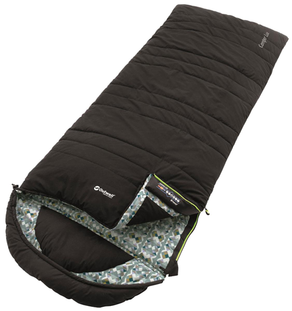 Спальный мешок-одеяло Outwell Camper Lux, правосторонняя молния, с подголовником, цвет: черный, 235 х 90 см