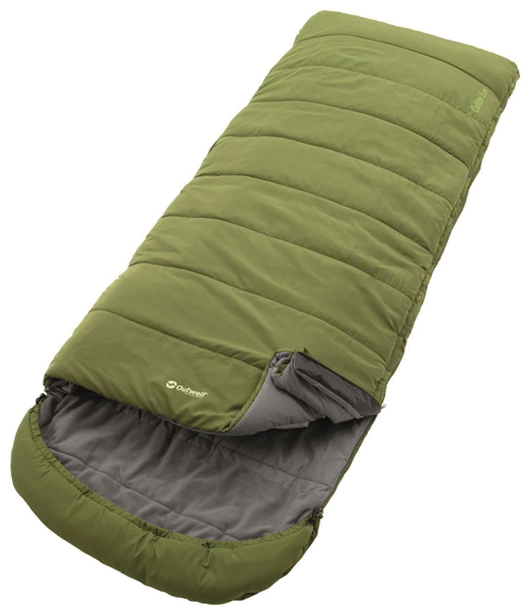 Спальный мешок-одеяло Outwell Colibri Lux, с подголовником, правосторонняя молния, цвет: зеленый, 215 х 80/100 см