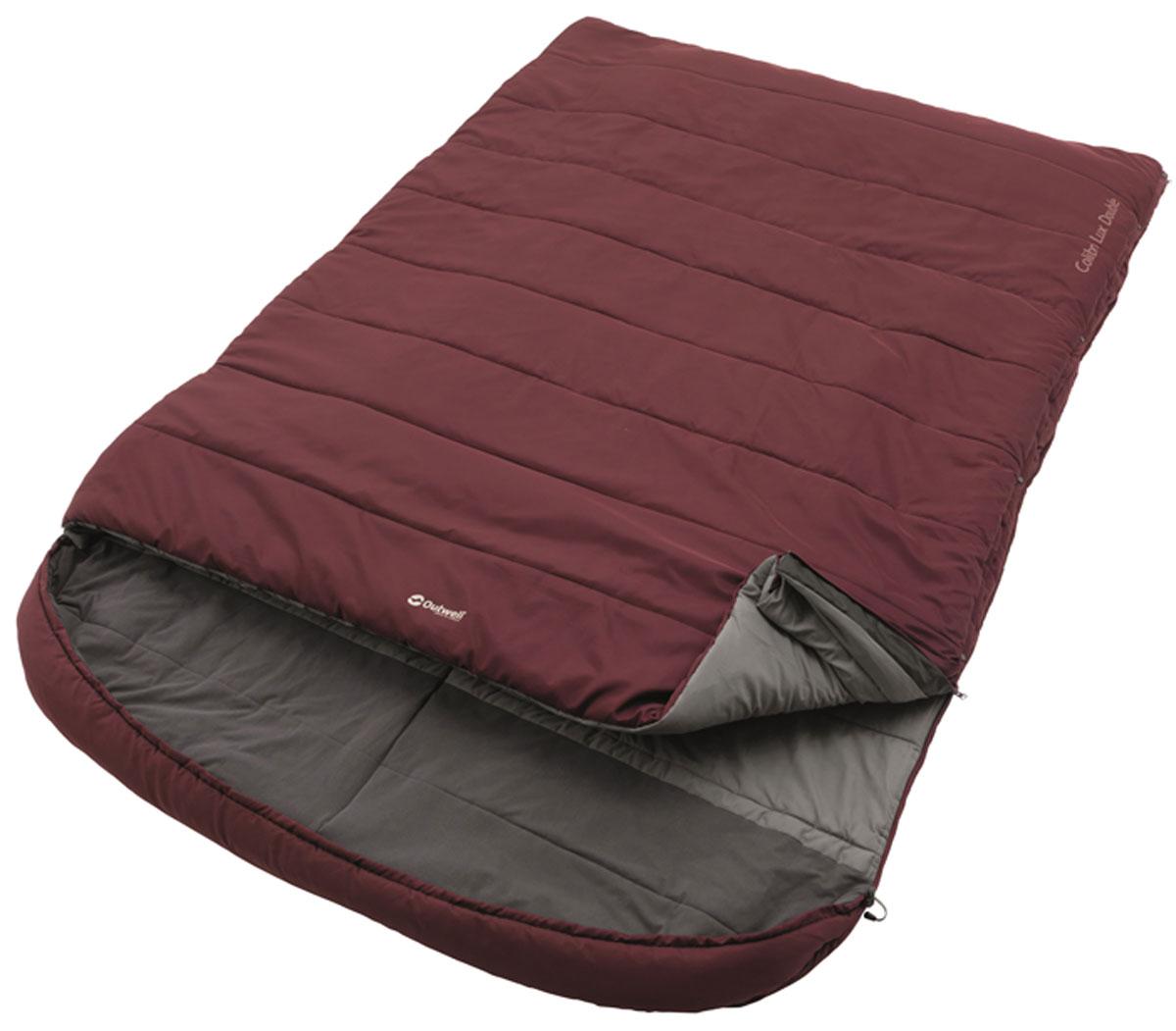 Спальный мешок-одеяло на двоих Outwell Colibri Lux Double, с подголовником, правосторонняя молния, цвет: бордовый, 215 х 150/170 см cпальный мешок outwell cube double