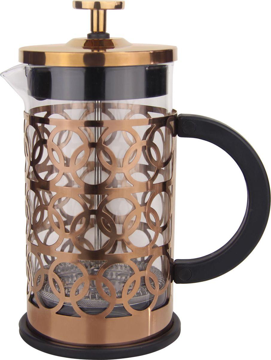 Френч - пресс 3 предмета: прозрачная стеклянная колба,  стальной подстаканник под медь,  фильтр-пресс с крышкой. Ручка и дно  изготовлены из высококачественной нержавеющей стали. Можно мыть в посудомоечной машине. Объем чаши - 350 мл.