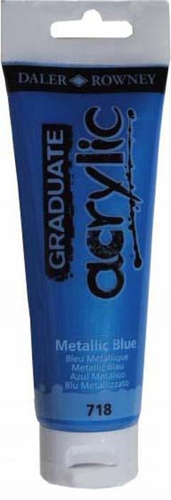 Daler Rowney Краска акриловая Graduate цвет синий металлик 120 мл