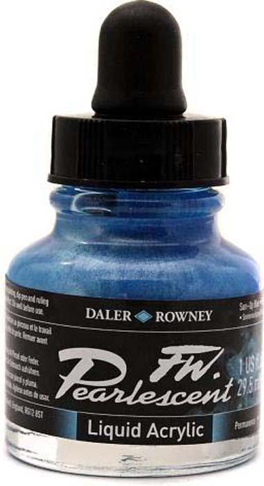 Daler Rowney Чернила перламутровые Fw Artists цвет синий 29,5 мл -  Чернила и тушь