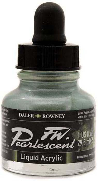 Daler Rowney Чернила перламутровые Fw Artists цвет серебряный 29,5 мл -  Чернила и тушь