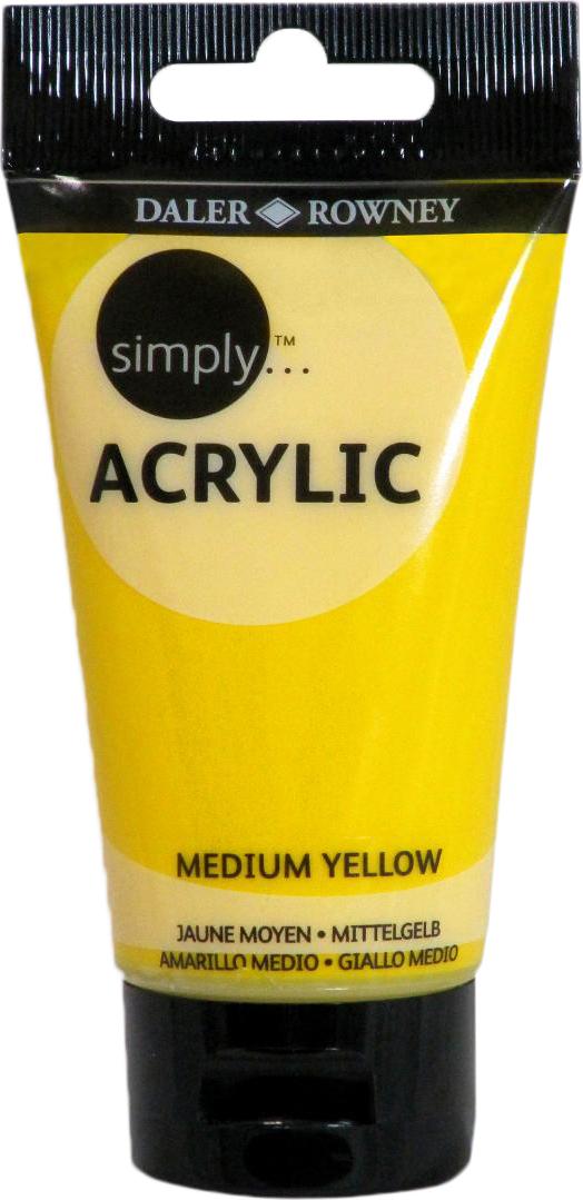 Daler Rowney Краска акриловая Simply цвет желтый средний 75 мл
