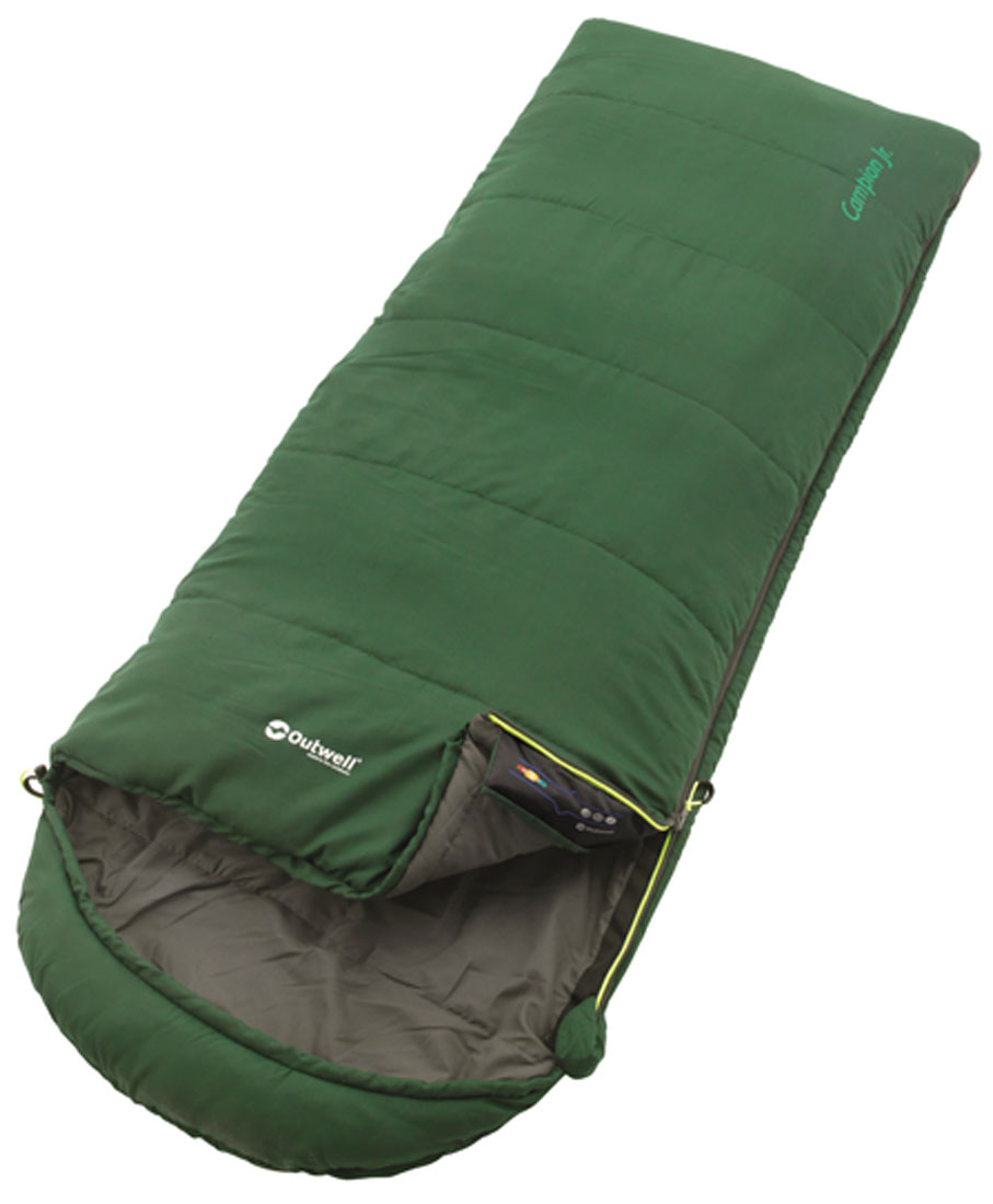 Спальный мешок-одеяло подростковый Outwell Campion Junior, с подголовником, правосторонняя молния, цвет: зеленый, 170 х 65 см плед утепленный outwell constellation comforter цвет зеленый