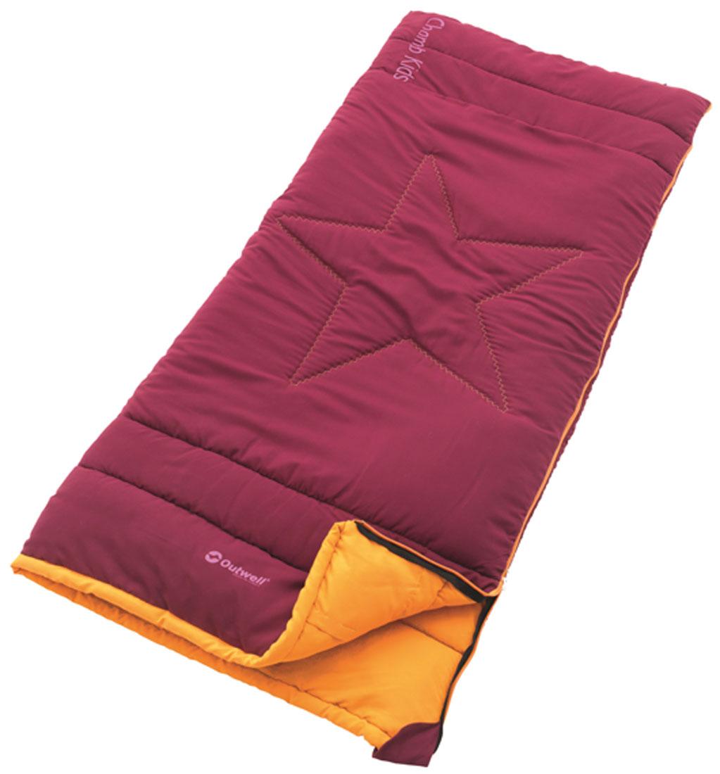 Спальный мешок-одеяло детский Outwell Champ Kids, цвет: красный, правосторонняя молния, 150 х 70 см