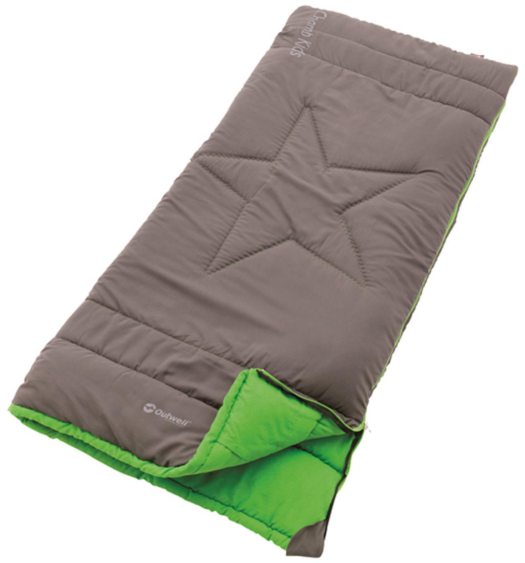 Спальный мешок-одеяло детский Outwell Champ Kids, правосторонняя молния, цвет: серый, 150 х 70 см cпальный мешок outwell cube double