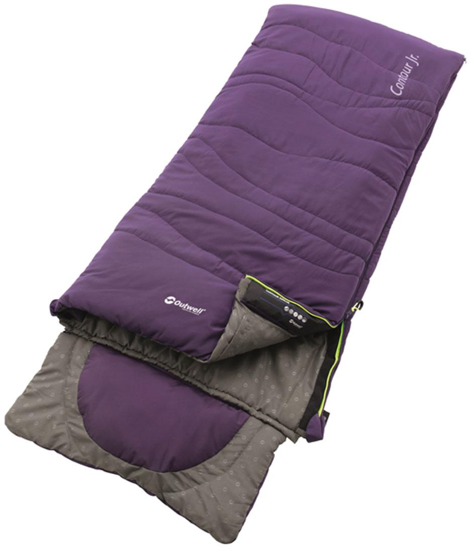 Спальный мешок-одеяло подростковый Outwell Contour Junior, с подголовником, правосторонняя молния, цвет: баклажановый, 170 х 70 см cпальный мешок outwell cube double