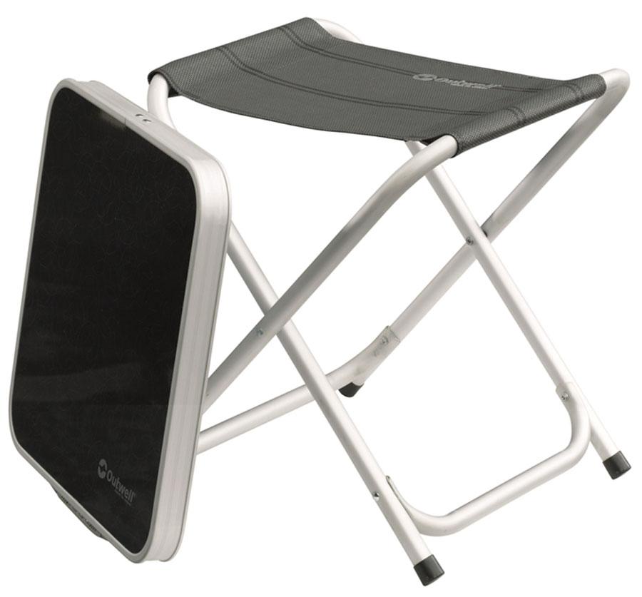 """Табурет Outwell """"Baffin"""" со столешницей в комплекте, может использоваться как столик.- 3 в 1: столик, табурет и подставка для ног- Устанавливается и складывается за секунды- Сборка не требуется- Легкость и удобство при транспортировке- Высококачественная обивка Textiline- Прочный алюминиевый каркас"""