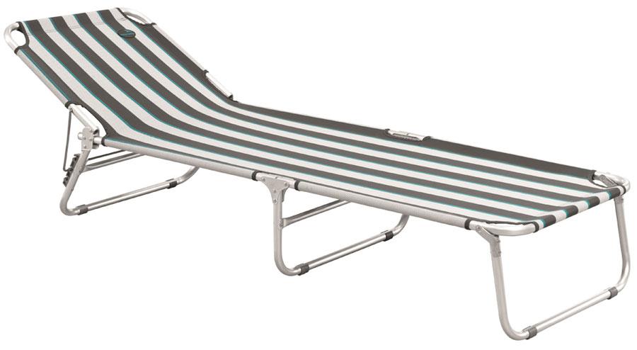 Комфортный лежак быстро раскладывается и не требует дополнительной сборки. Отлично подойдет для принятия солнечных ванн и отдыха на природе. Модель имеет 3 позиции наклона и удобную ручку для переноски.