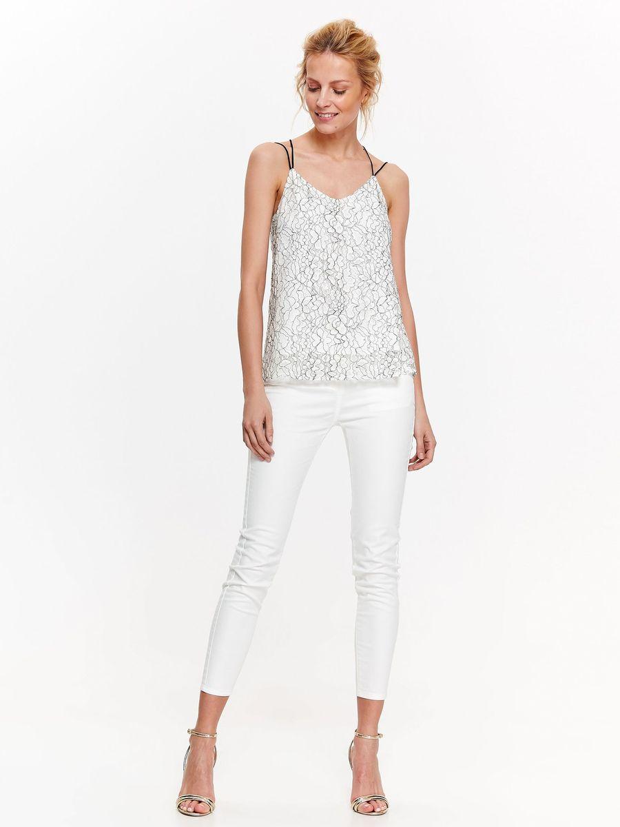 Блузка женская Top Secret, цвет: белый, черный. SBL0594BI. Размер 42 (50) блузка quelle top secret 1033699