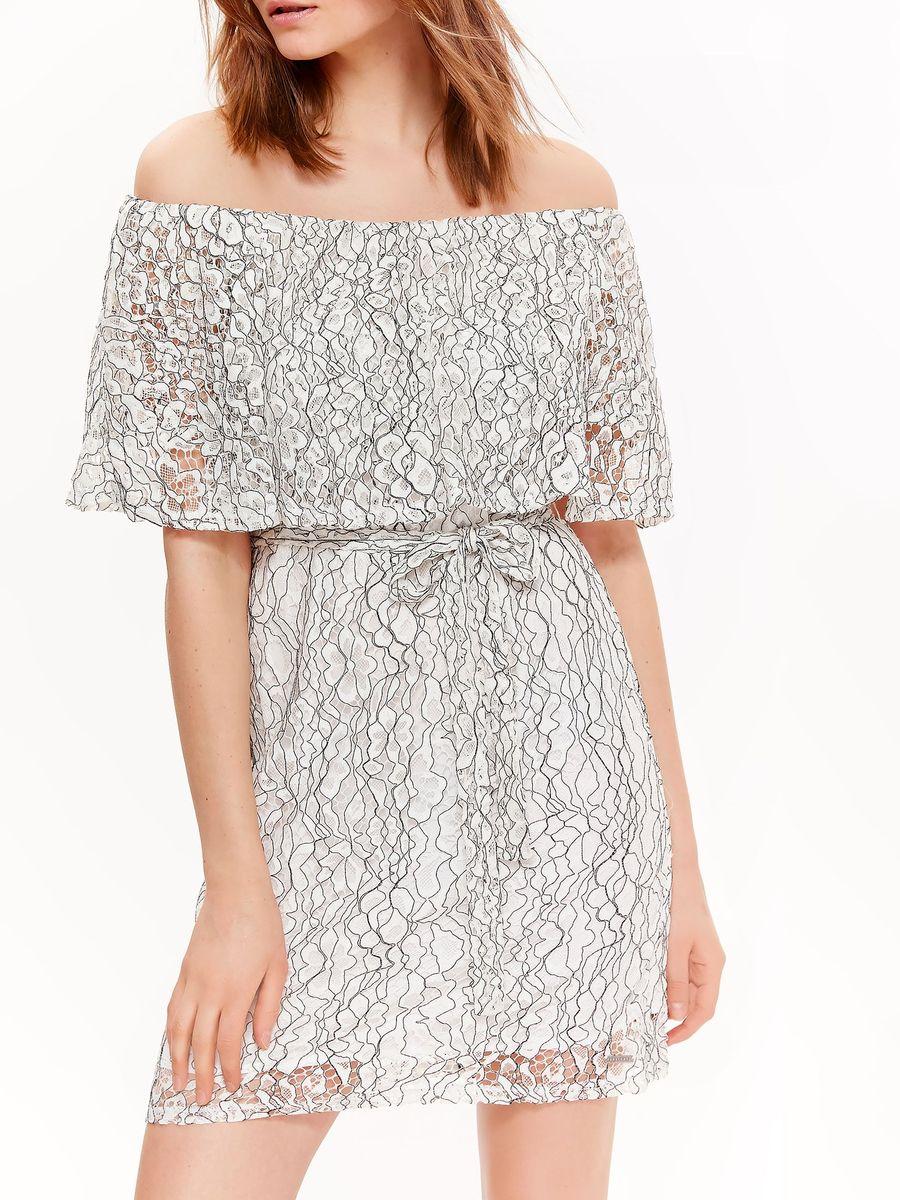 Платье женское Top Secret, цвет: белый, черный. SSU2134BI. Размер 42 (50)