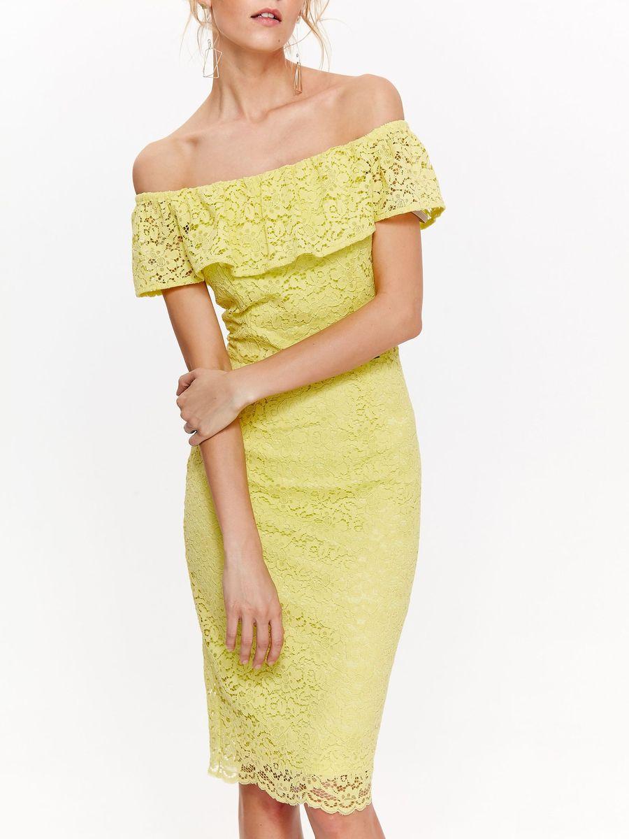 Платье женское Top Secret, цвет: желтый. SSU2093ZO. Размер 38 (46)SSU2093ZOЛегкое кружевное платье выполненное из комбинированного материала, отлично дополнит ваш гардероб. Модель с открытыми плечами, на спинке имеет застежку молнию.