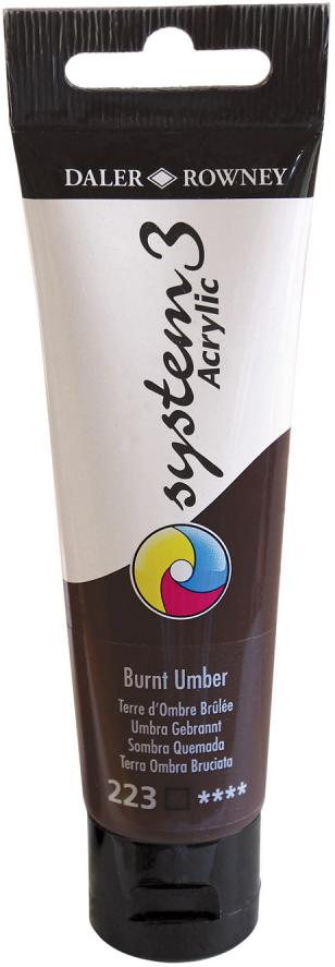 Daler Rowney Краска акриловая System 3 цвет умбра жженая 59 мл
