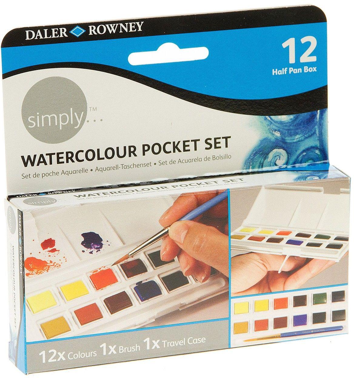 Daler Rowney Набор акварельных красок Simply карманный 12 мл 12 цветов