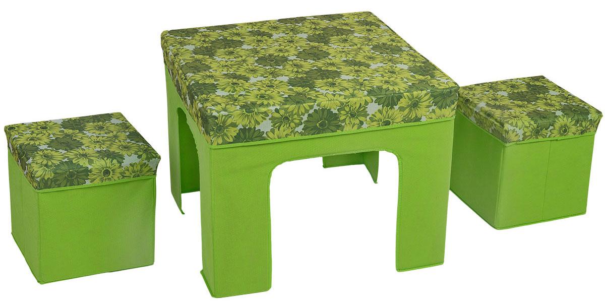 """Набор складной мебели """"Orange"""" изготовлен из МДФ, оксфорда и спанбода. Набор предназначен для использования внутри помещений, на отдыхе, пикнике. Мебель компактна и удобно складывается.  Набор складной мебели может послужить отличным подарком любому дачнику, охотнику и рыбаку. Любой, отдыхающий за городом человек, позавидует вам, увидев этот набор складной мебели. Максимальная нагрузка стола: 25 кг.  Максимальная нагрузка пуфика: 100 кг.  Размер стола: 60 см х 60 см.  Размер пуфика: 30 см х 30 см."""