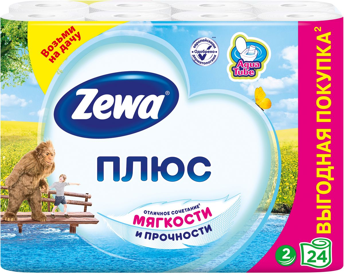Туалетная бумага Zewa Плюс - это отличное сочетание прочности и мягкости. Она одобрена дерматологами и прекрасно подойдет всем членам вашей семьи – и тем, кому нужна мягкая бумага, и тем, кому важна прочность. Позаботьтесь о себе и своих близких вместе с Zewa. Со смываемой втулкой Aqua Tube! Белая 2-х слойная туалетная бумага без аромата. 24 рулона в упаковке. Состав: вторичное волокно. Производство: Россия