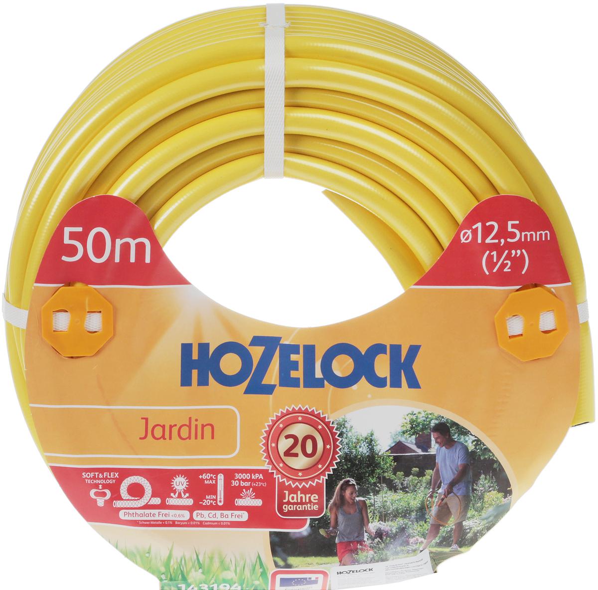 Шланг HoZelock 143194 Jardin 12,5 мм 50м• Усиленная защита от повреждений, перегибов и перекручиванияПрочный, гладкий Шланг, состоящий из 5-ти слоев, прекрасно подойдет тем, кто больше всего ценит в Шлангах надежность и износостойкость. Гладкий внутренний слой обеспечивает максимальный ток воды. Однородный микропористый слой из ПВХ по технологии Soft&Flex придает прочность стенкам Шланга, облегчает вес (до 25% легче, чем у конкурентов) и улучшает маневренность. Удобен в эксплуатации-легко сматывается в катушки и системы хранения. Специальное армированное плетение по технологии TNT предотвращает деформацию Шланга при скручивании; внешний слой из ПВХ защищает от повреждений. Яркий желтый цвет позволяет Вам без труда увидеть Шланг на Вашем участке. Материалы, из которых состоит Шланг, являются безопасными для человека и окружающей среды-не содержат фталатов, тяжелых металлов и вредных токсинов.