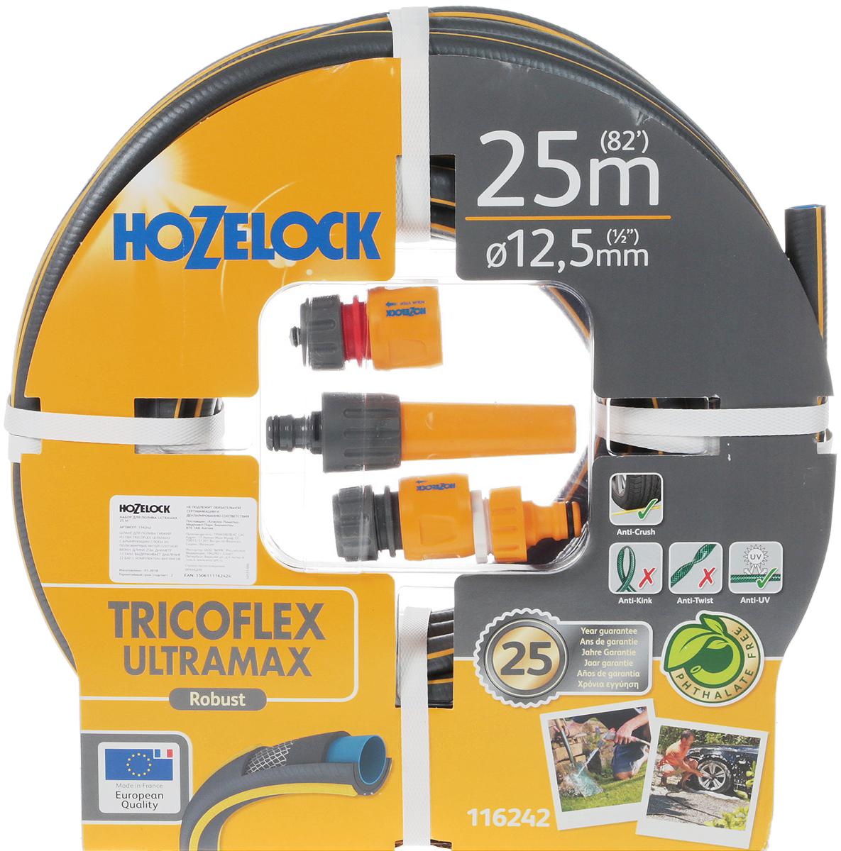 """Набор для полива HoZelock 116242 Tricoflex Ultramax Starter Set 12,5 мм 25 м: Шланг Ultramax 12,5 мм 25 м, Коннектор классик (12,5 мм и 15 мм) 2070, Коннектор классик с Аквастоп (12,5 мм и 15 мм) 2075, Наконечник для шланга 2292, Коннектор для крана вне помещений 1/2""""-3/4"""" (12,5 мм и 19 мм) 2184Готовый набор с высококачественным шлангом и всеми принадлежностями, необходимыми для того, чтобы приступить к поливу."""