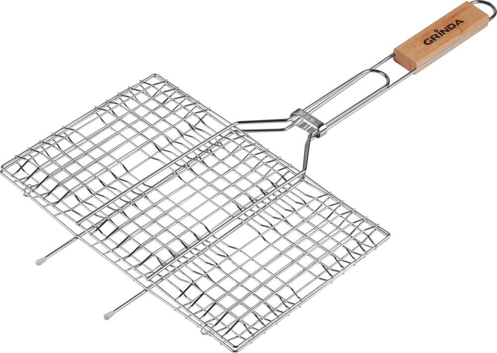 """Решетка-гриль Grinda """"Barbecue"""" предназначена для приготовления различных продуктов на открытом огне или углях. Высококачественная пищевая сталь с коррозионностойким покрытием обеспечивает длительный срок эксплуатации. Специально разработана для приготовления пищи на мангале. Легко чистится после использования. Увеличенная толщина прутьев решетки позволяет избежать деформации при нагревании. Надежный фиксатор не позволяет решетке самопроизвольно раскрываться. Удобная в обхвате деревянная ручка защищает руку от ожога.Размеры: 22 х 34 см."""