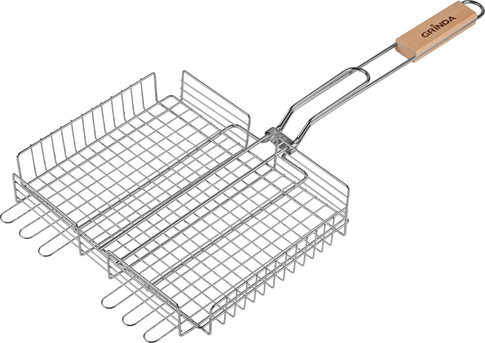 """Решетка-гриль Grinda """"Barbecue"""" предназначена для приготовления мяса и овощей на открытом огне или углях. Высококачественная пищевая сталь с коррозионностойким покрытием, обеспечивает длительный срок эксплуатации. Специально разработана для приготовления пищи на мангале. Легко чистится после использования. Увеличенная толщина прутьев решетки позволяет избежать деформации при нагревании. Надежный фиксатор не позволяет решетке самопроизвольно раскрываться. Удобная в обхвате деревянная ручка защищает руку от ожога."""