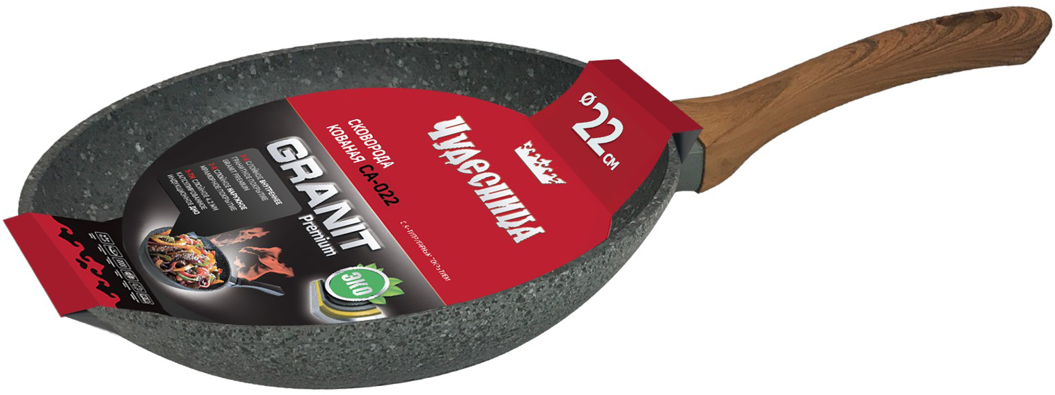 Сковорода-гриль Чудесница состоит в кованой алюминиевой серии Granit. Сковорода имеет антипригарное трехслойное мраморное покрытие, индукционное дно, ручку с покрытием soft touch толщиной 4,2 мм.