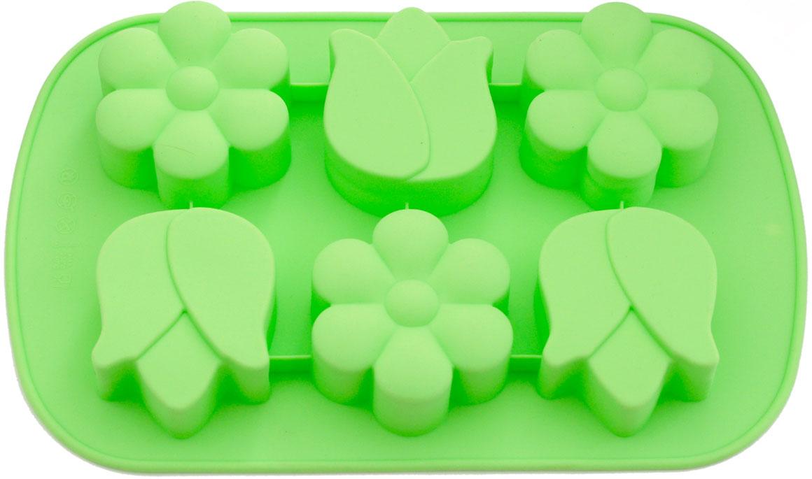 Форма для выпечки кексов Fissman Нарцисс, тюльпан, силиконовая, 6 ячеек, цвет: зеленый чай, 26,5 х 17 х 3 см6651Форма изготовлена из 100% экологически чистого силикона. Формы из силикона имеют высокую теплопроводность, отличаются хорошими антипригарными свойствами, их не требуется смазывать маслом (кроме первого применения). Силиконовые формы выдерживают температуру от -40°С до +230°С, при этом не вступают в химическую реакцию с продуктами и не выделяют вредных веществ. Силиконовые формы не впитывают никакие запахи, легко моются, не бьются. Их легко и удобно хранить. Силиконовые формы отличаются многообразием форм и размеров, что способствует расширению творческих идей, а модные, яркие цвета создают праздничное настроение.