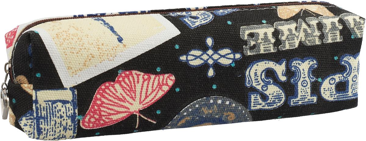 Calligrata Пенал школьный Париж цвет черный пенал школьный круги голубой силикон 46157