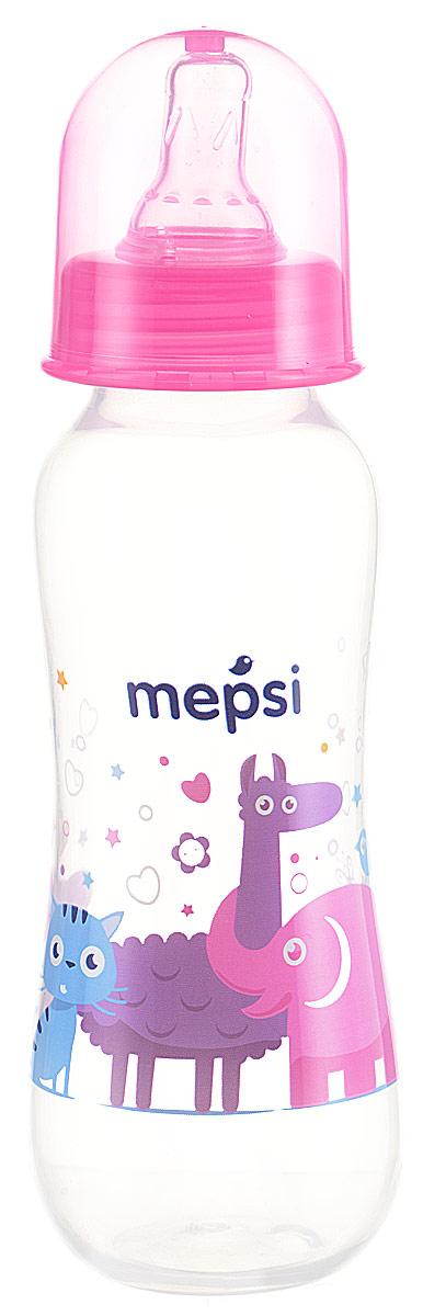 Mepsi Бутылочка для кормления с силиконовой соской от 0 месяцев цвет розовый 250 мл